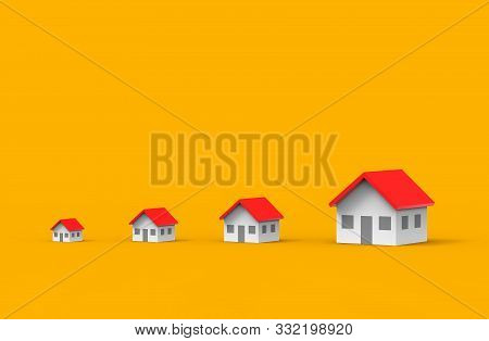 Real Estate Business Growth. Group Of House. 3d Illustration.