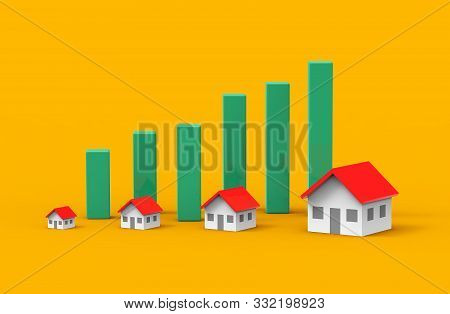 Real Estate Business Growth With Green Graph. 3d Illustration.