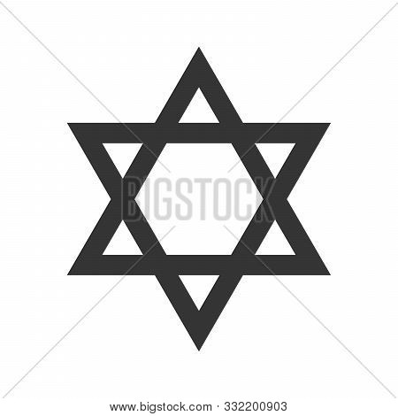 Star Of David Isolated. Vector Star Isolated. Black Star In Flat Design. Jewish Star