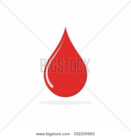 Vector Drop Icon. Red Blood Drop Icon Isolated. Donate Drop Blood Sign In Flat Design.
