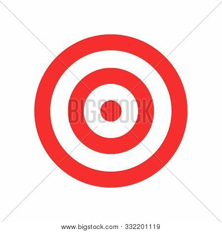 Target Vector Icon Isolated. Flat Target Icon. Red Round Target