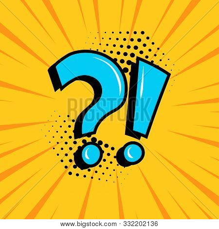Question Mark And Exclamation Point, Blue Signs On Yellow Comic Banner In Pop Art Style. Vector Illu