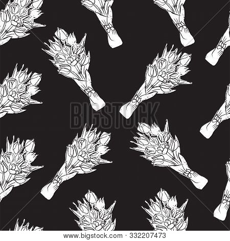 Monochrome Seamless Pattern Of  Bouquets With White Tulip Flowers On Black Background  In Popart Sty