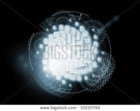 Backdrop on the subject of document processing office paperwork virtual workspace and cloud networking composed of document icons lights and abstract design elements poster