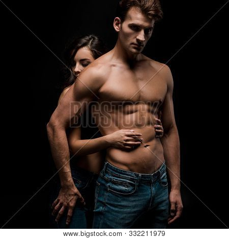 Beautiful Sensual Couple Hugging, Isolated On Black