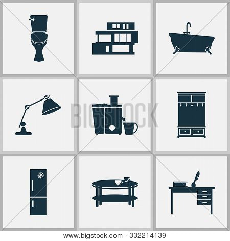 Interior Icons Set With Desk, Table Lamp, Fridge And Other Teatime Elements. Isolated Vector Illustr