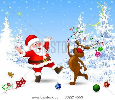 Santa And Deer In The Winter Forest. Santa And Deer Celebrate Christmas. Christmas Eve. Christmas De