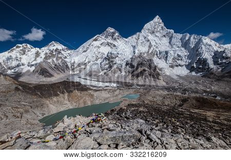 Day Panoramic View Of  Mountains: Mount Everest 8848m, Nuptse 7861m, Everest Base Camp Path And Khum