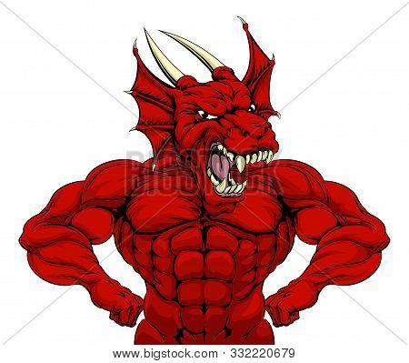 Cartoon Tough Mean Strong Red Dragon Sports Mascot