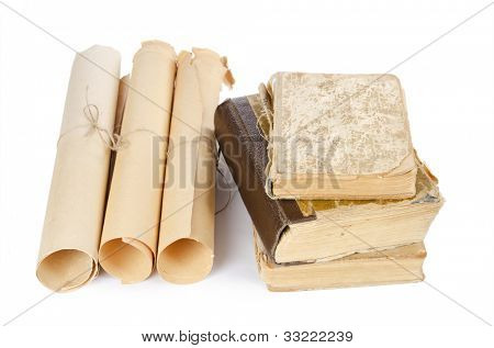 Many ancient scrolls and old books isolated