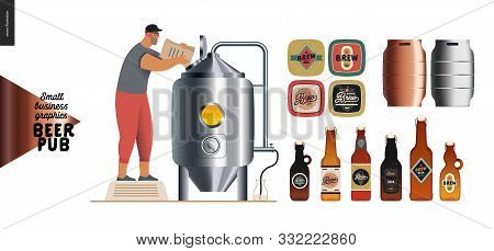 Brewery, Craft Beer Pub -small Business Graphics - Brewing Process And Some Beer Elements -modern Fl