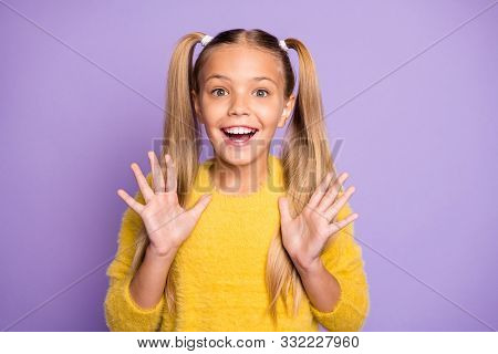 Portrait Of Positive Cheerful Kid Hear Wonderful News About Her Birthday Newyear Present Scream Wow