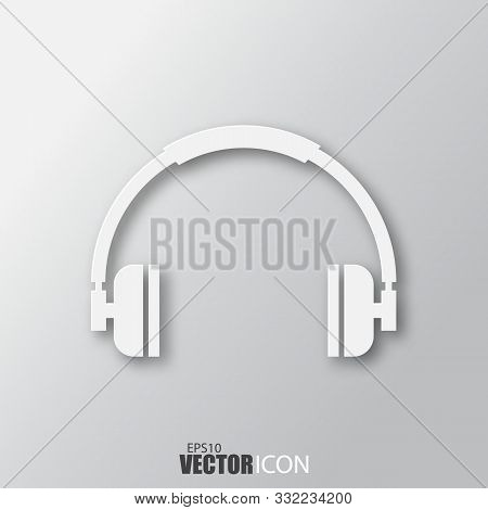 Headphone Icon In White Style With Shadow Isolated On Grey Background.