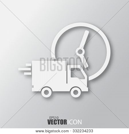Fast Delivery Icon In White Style With Shadow Isolated On Grey Background.