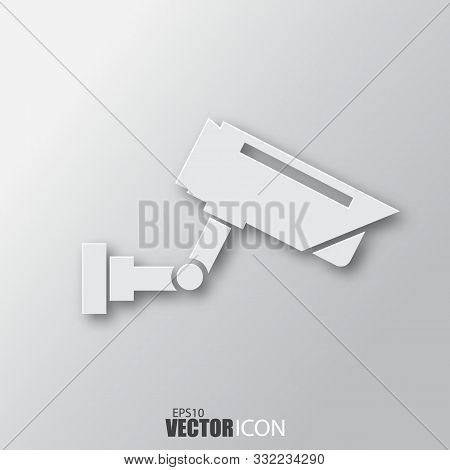 Surveillance Camera Icon In White Style With Shadow Isolated On Grey Background.