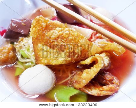 Seafood Yong Tau Foo Rice Noodles With Fishball