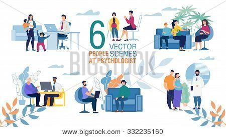 Family Psychologist Work Trendy Flat Vector Scenes Set. Female, Male Psychologists Counseling Patien