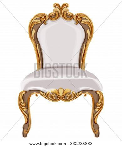 Louis Xvi Style Chair With Golden Neoclassic Ornaments. Vector