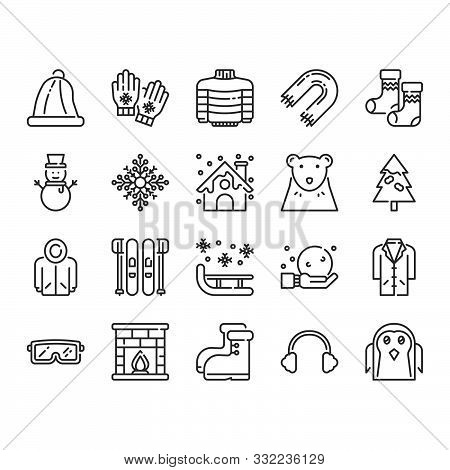 Winter Icon And Symbol Set. Vector Illustration