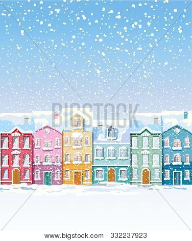 Winter Colorful City Buildings Covered In Snow Blizzard. Vibrant Colors. Front View. Vector