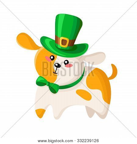 Saint Patricks Day Cartoon Cute Dog Or Puppy In Green Bowler Hat And Bow Tie, Funny Domestic Animal
