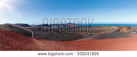 Panoramic View Of Colorful Volcanic Landscape At Timanfaya National Park, Montanas Del Fuego, On Lan