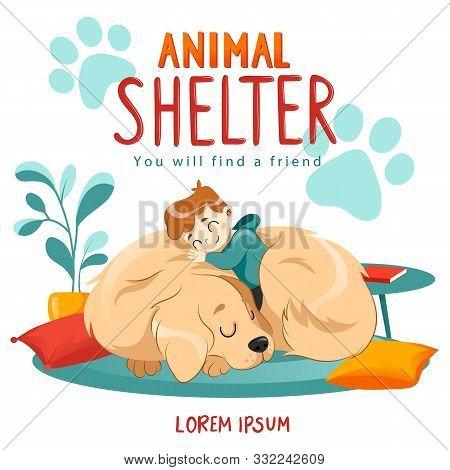Animal Shelter Design Poster With Child, Dog And Decorations. Illustration Showes Animal Adoption, C
