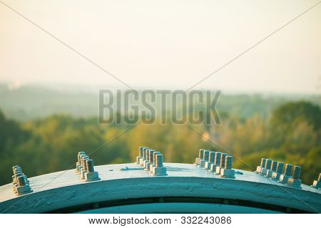 Joint Of Steel Structure With Bolt And Nut At Construction Site Bridge On The Rooftop Sunrise