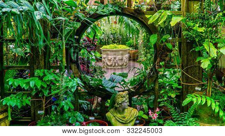 San Francisco, Usa - August 2019: Interior Of Conservatory Of Flowers At Golden Gate Park