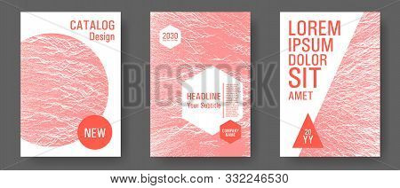 Geometric typography cover. Living coral color white waves textures background. Fluid buzzing wavy noise ripple texture geometric brochure covers with title and logo places. Coral white colors poster