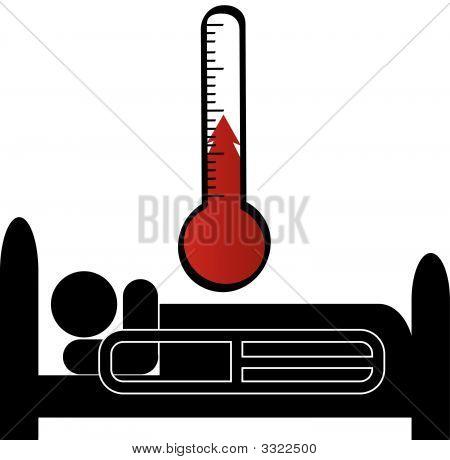 Mann in Krankenhaus-Stick Bett w Temperatur.