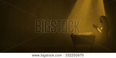 Christmas Time. Nativity Illustration Of Manger With Baby Jesus And Mary. Light Illustration.