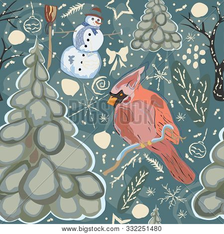 Seamless Winter Pattern With Cute Snowman And Cardinal Bird. Colorful Design
