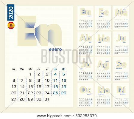 Calendar 2020 Template In Spanish Language, Minimalist Calendar Set For 2020 Year On Yellow Backgrou