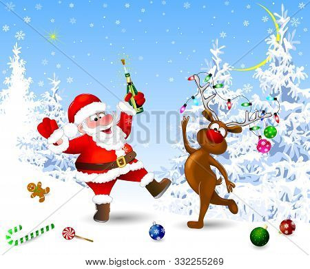 Santa And Deer In The Winter Forest. Santa With A Bottle. Santa And Deer Celebrate Christmas. Christ