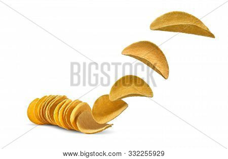 Potato Crisps Flying Up, Isolated On White Background With Copy Space For Text Or Images. Crispy, Pa