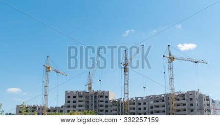 Time Lapse Of Building Under Construction, Crane And Beautiful Clouds No Birds
