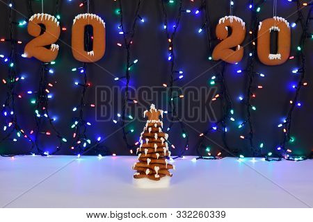 The Hand-made Eatable Gingerbread New Year Tree, 2020 Inscription, Snow Decoration, Garland Backgrou