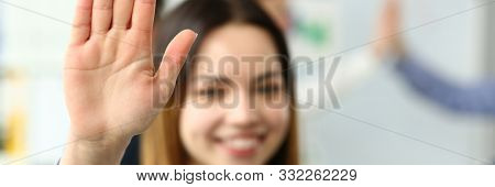 Focus On Tender Lady Hand Showing Approving Gesture Of Great Respect. Smiling Business Woman Standin
