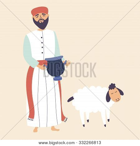 A Man Presents Gifts To The Gods. Brings In Sacrifice Pet. Worship Of God. Vector Editable Illustrat