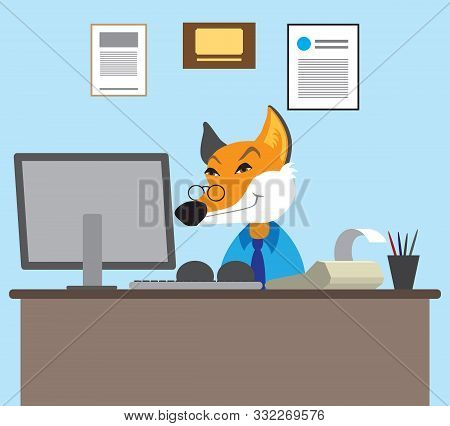 A Sly Cartoon Fox Accountant Is Working At His Computer