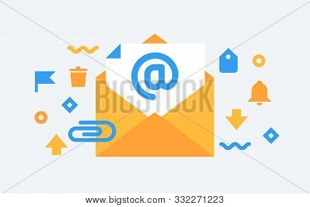 Email Service. Flat  Vector Illustration. Electronic Mail Message Concept As Part Of Business Market