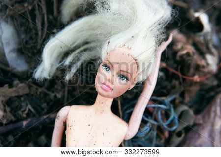 Poland. Wroclaw. September 24. 2019. Barbie Doll Lying In A Landfill