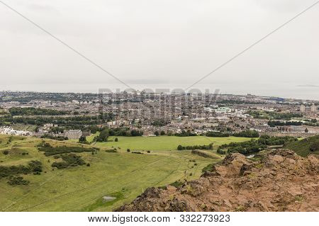 View Of Arthurs Seat In Holyrood Park In Edinburgh, Scotland