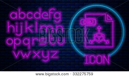 Glowing Neon Obj File Document. Download Obj Button Icon Isolated On Brick Wall Background. Obj File