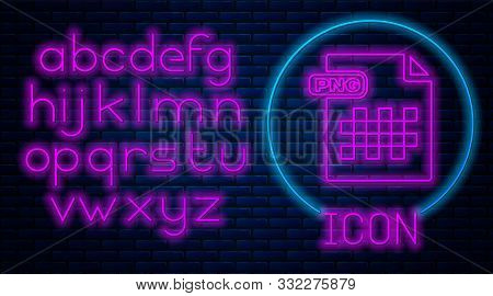 Glowing Neon Png File Document. Download Png Button Icon Isolated On Brick Wall Background. Png File