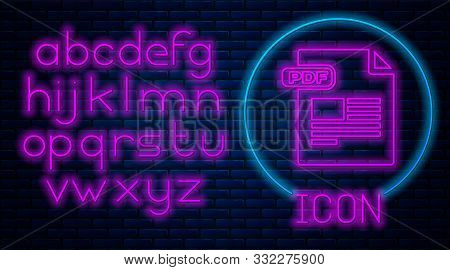 Glowing Neon Pdf File Document. Download Pdf Button Icon Isolated On Brick Wall Background. Pdf File