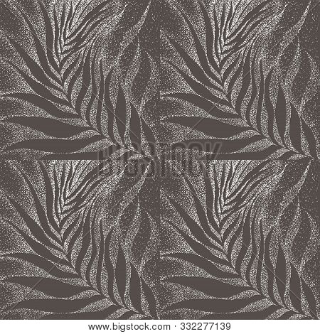 Pattern Of Palm Tree Branches And Leaves Using Pointillism Technique On Liner