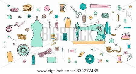 Color Set Of Objects For Sewing, Handicraft. Sewing Tools And Sewing Kit And Equipment, Needle, Sewi