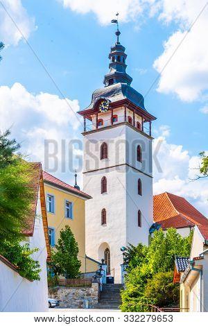 Belltower Of Small Rural St. Michael Church In Jistebnice, Czech Republic